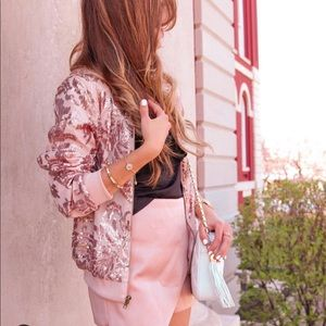 Jackets & Blazers - Rose Gold Sequin Bomber Jacket